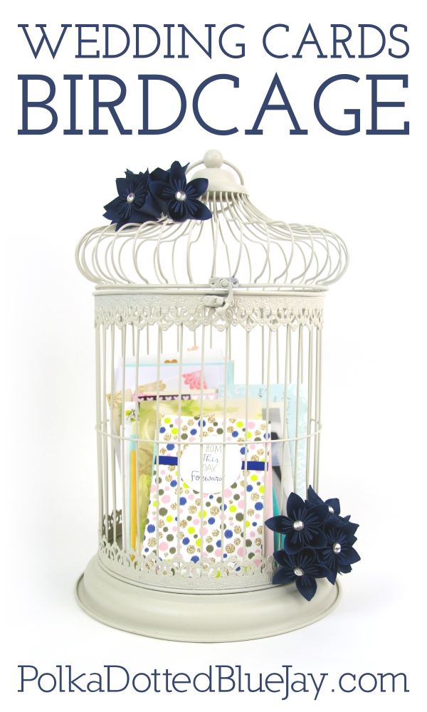 Wedding Cards Birdcage Polka Dotted Blue Jay