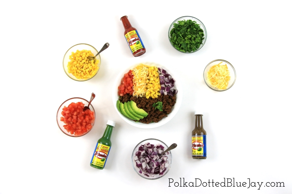 Make your meal easy and delicious to take on the go with this colorful taco salad bowl and El Yucateco® Hot Sauce #KingofFlavor #FlavorRocksTG