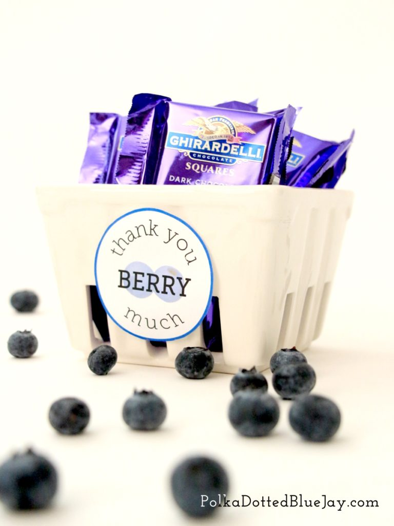 Need a fun gift for Bosses Day? Click here to see how to make this Thank You Berry Much Basket with a blueberry graphic and blueberry chocolate.